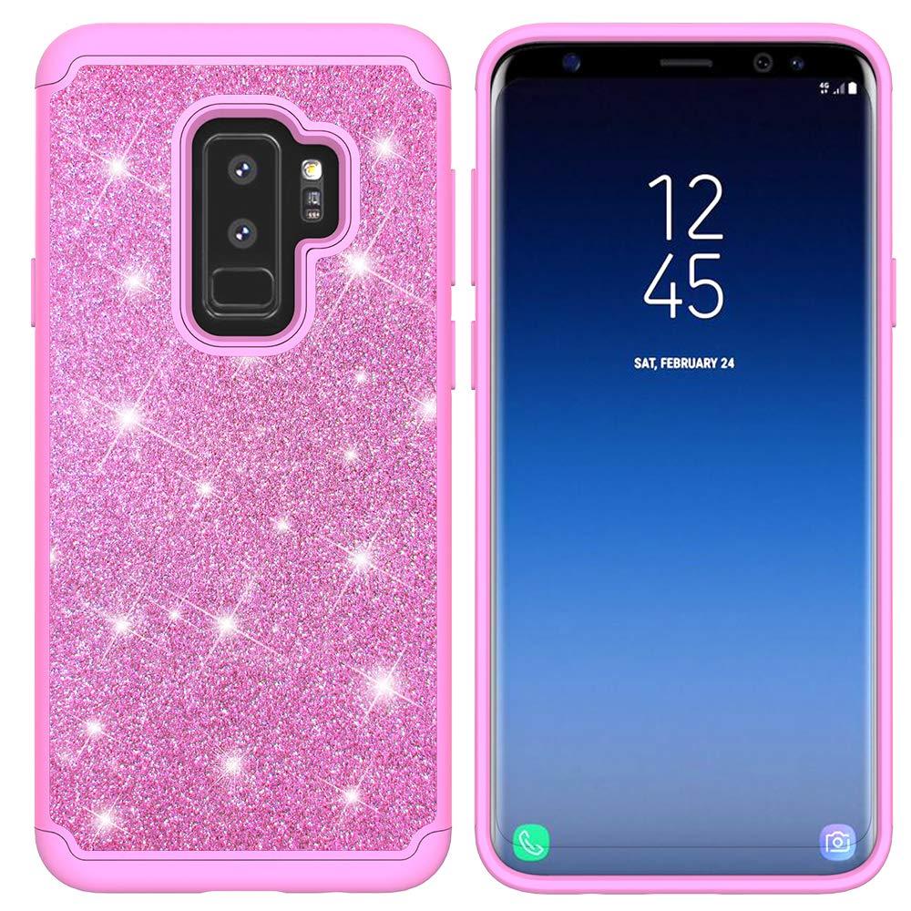 Yobby Hybride Protecteur Coque pour Samsung Galaxy S9, Coque Samsung Galaxy S9 Bling Glitter Strass Slim Housse Etui Double Couche Antichoc Dur PC Retour + Doux TPU Bumper Interne Cover-Violet
