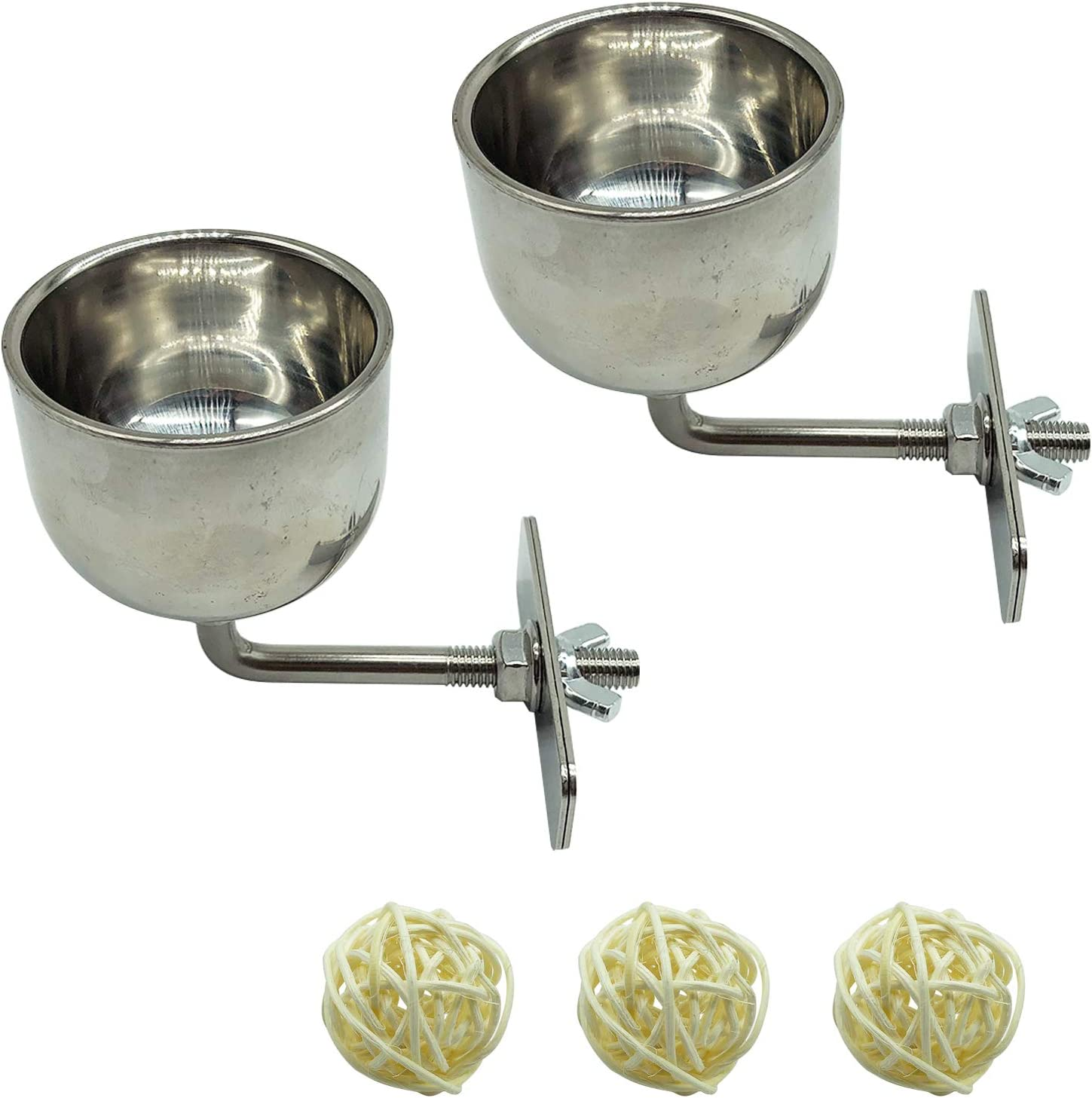 Bird Stainless Steel Food Bowl with 3 Willow Balls Feeding Cups Standing Platform Water and Food Dishes for Parakeets Cockatiels Budgies Conures Lovebirds 2 PCS