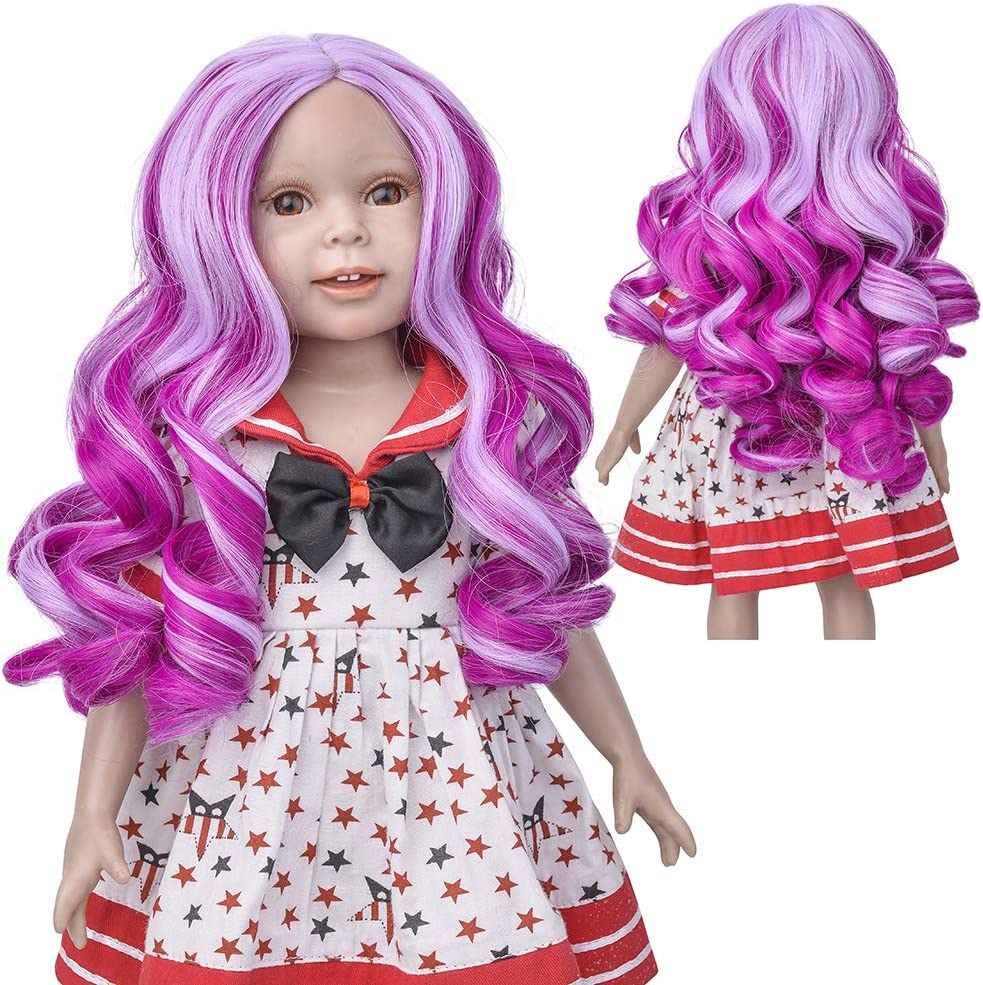 MUZI Wig Doll Wig for 18 Inches Doll, Blue Curly Heat Resist Doll Wigs for 18'' Doll