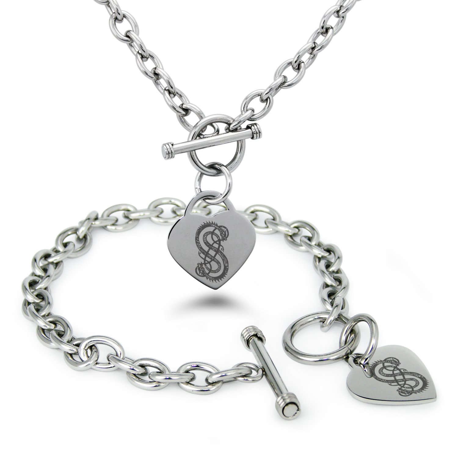 Tioneer Stainless Steel God of Mischief Loki Viking Norse Symbols Heart Charm Bracelet /& Necklace