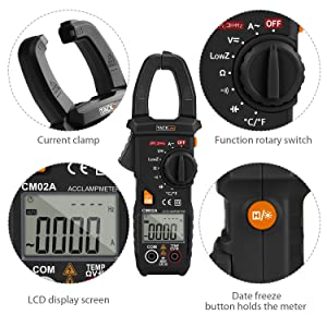 Digital Clamp Meter, Tacklife CM02A 600 Amp TRMS 6000 Counts NCV with AC Current AC/DC Voltage Test Temperature Measure Auto-Ranging Multimeter (Color: Black, Tamaño: Clamp meter)