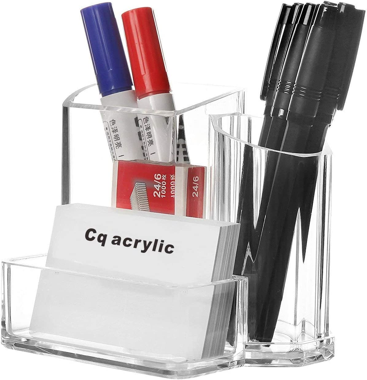 Cq acrylic Pen and Pencil Holders Cups Business Card Holder Box Office Supplies Desktop Organizer Storage,5.4x3.8x4.4 inch Pack of 1