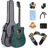 lotmusic 41 Inch Acoustic Guitar Professional Cutaway Folk Guitarra Bundle 6 Metal Strings with Beginner Kit (Gig Bag, Tuner,