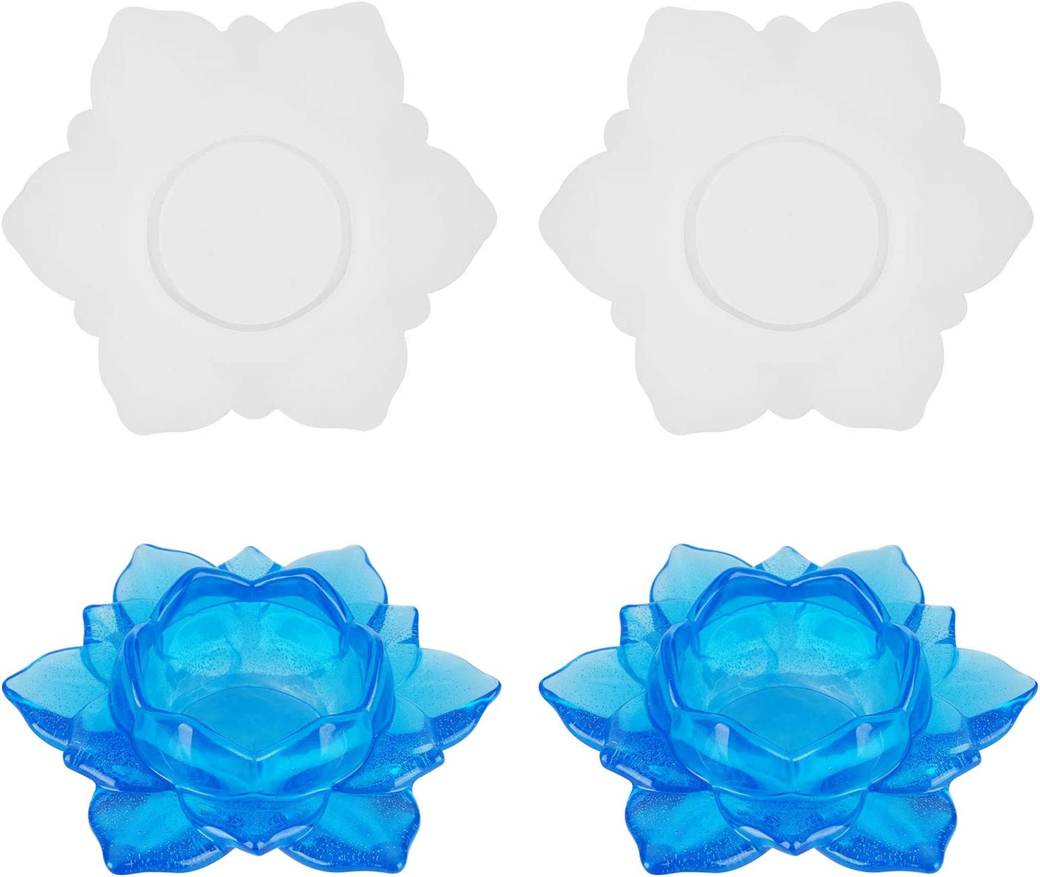 2 Pieces Flower Candlestick Resin Molds, Gartful Box Resin Casting Molds, Resin Container Molds for Making Jewelry Storage Box, Candle Holder, Tray Flower Pot, Home Decor, Crafts Decorations