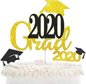 LINGPAR 2020 Grad Cake Toppers with Glitter Cap Embellishment Celebrate Grad Party Décor - Master Ph.D Graduation - High School College Graduate Themes Party Photo Props Gold