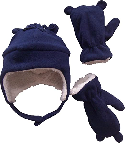 NIce Caps Little Boys and Baby Sherpa Lined Fleece Hat Mitten Embroidery Set