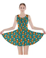 CowCow Teal Fox Pattern Skater Dress, Teal - L