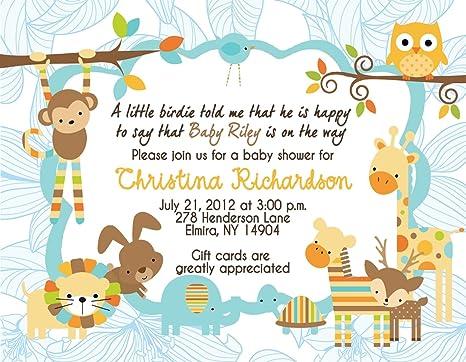 Amazon jungle baby shower shower invitations birthday party jungle baby shower shower invitations birthday party invitation giraffe monkey filmwisefo