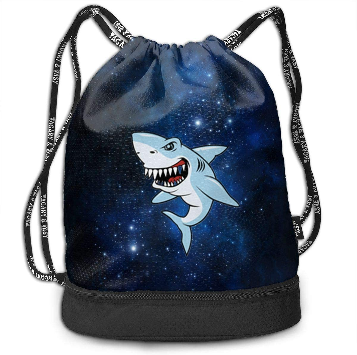 HUOPR5Q Shark-Illustration Drawstring Backpack Sport Gym Sack Shoulder Bulk Bag Dance Bag for School Travel