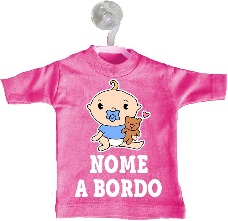 Mini T-shirt magliettina auto macchina bimbo bimba a bordo personalizzata nome beb/è ciuccio orsetto Fuxia