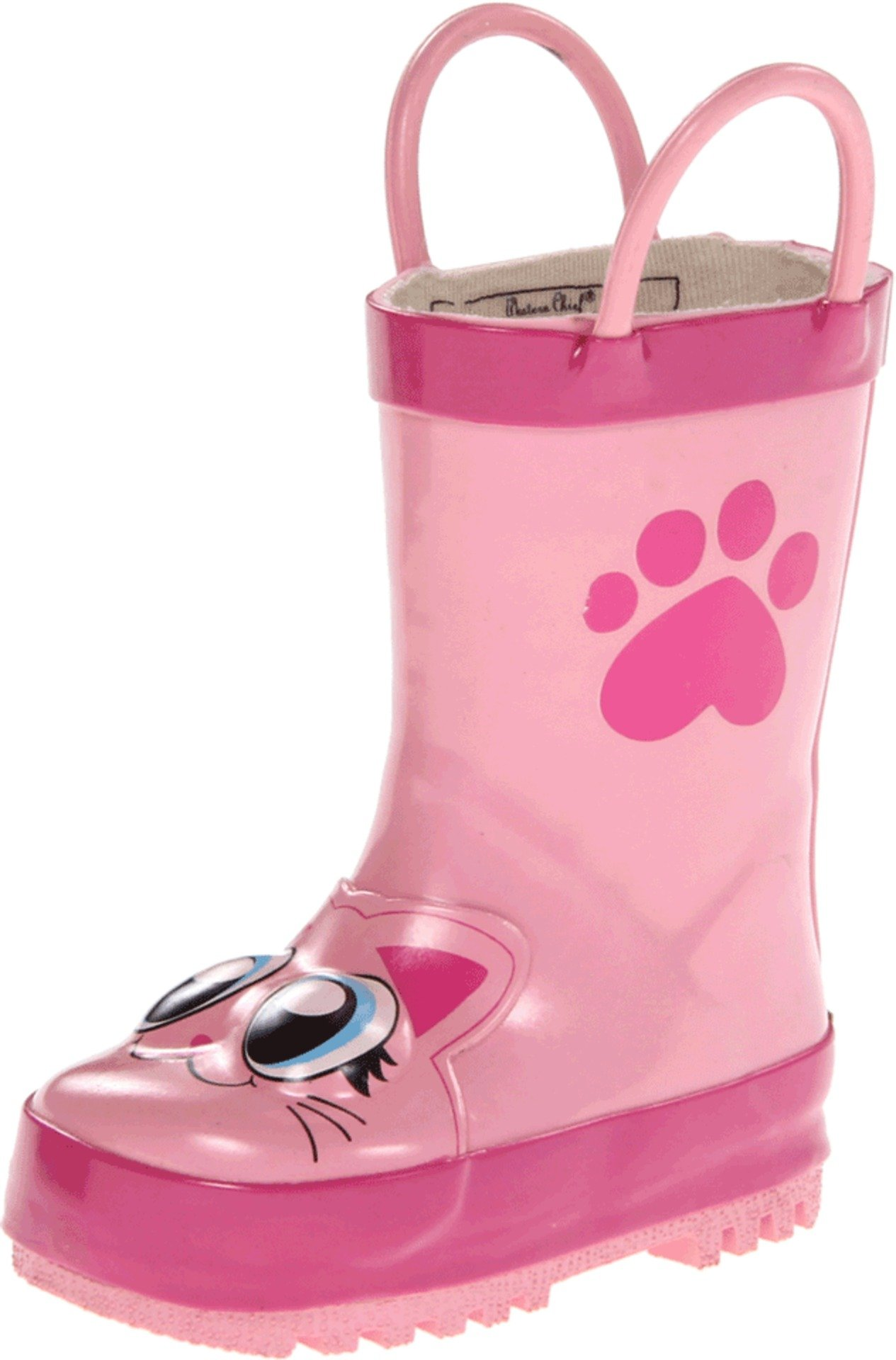 Western Chief Girls Waterproof Printed Rain Boot with Easy Pull on Handles, Khloe the Kitty, 7 M US Toddler