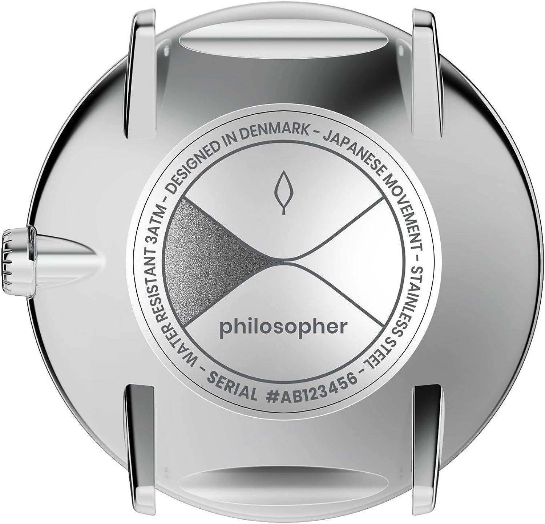 Nordgreen 10015 Philosopher Montre scandinave en argent avec cadran noir et bracelet interchangeable de 36 mm Vert