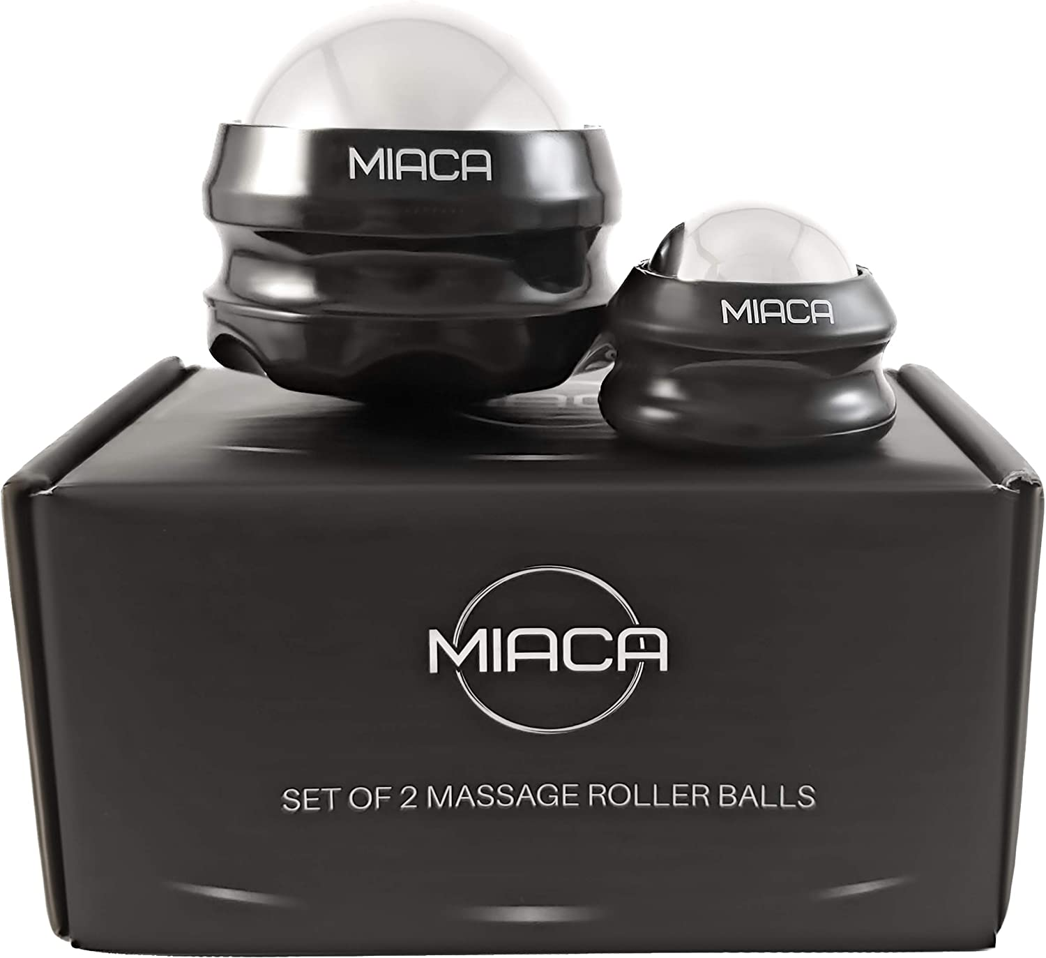 Cryosphere Cold Massage Ball Roller Set by Miaca   2 Sizes   Ice Roller for Sore Muscles   Metal Ball for Back Pain Relief   Foot Muscle Roller - Plantar Fasciitis   Small Face Roller- for Puffy Eye