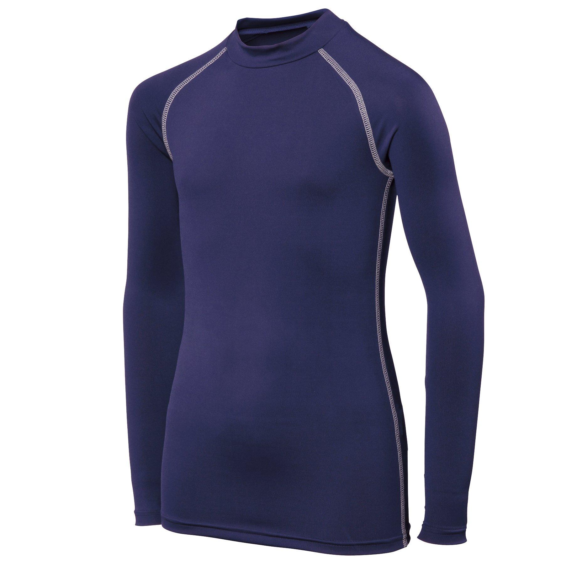 Rhino Childrens Big Boys Long Sleeve Thermal Underwear Base Layer Vest Top (LY-XLY) (Navy) by Rhino