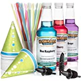 Hawaiian Shaved Ice 3 Flavor Fun Pack of Snow Cone Syrup | Kit Features 25 Snow Cone Cups, 25 Spoon Straws, 3 Black Bottle Pourers & Shaved Ice Syrup Flavors - Cherry, Grape, & Blue Raspberry