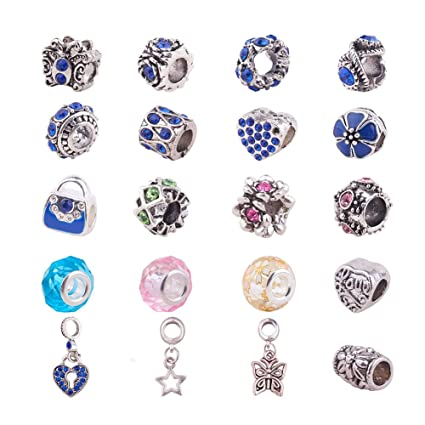 20pcs Blue Silver Murano Glass Bead lampwork Fit European Charm Bracelet