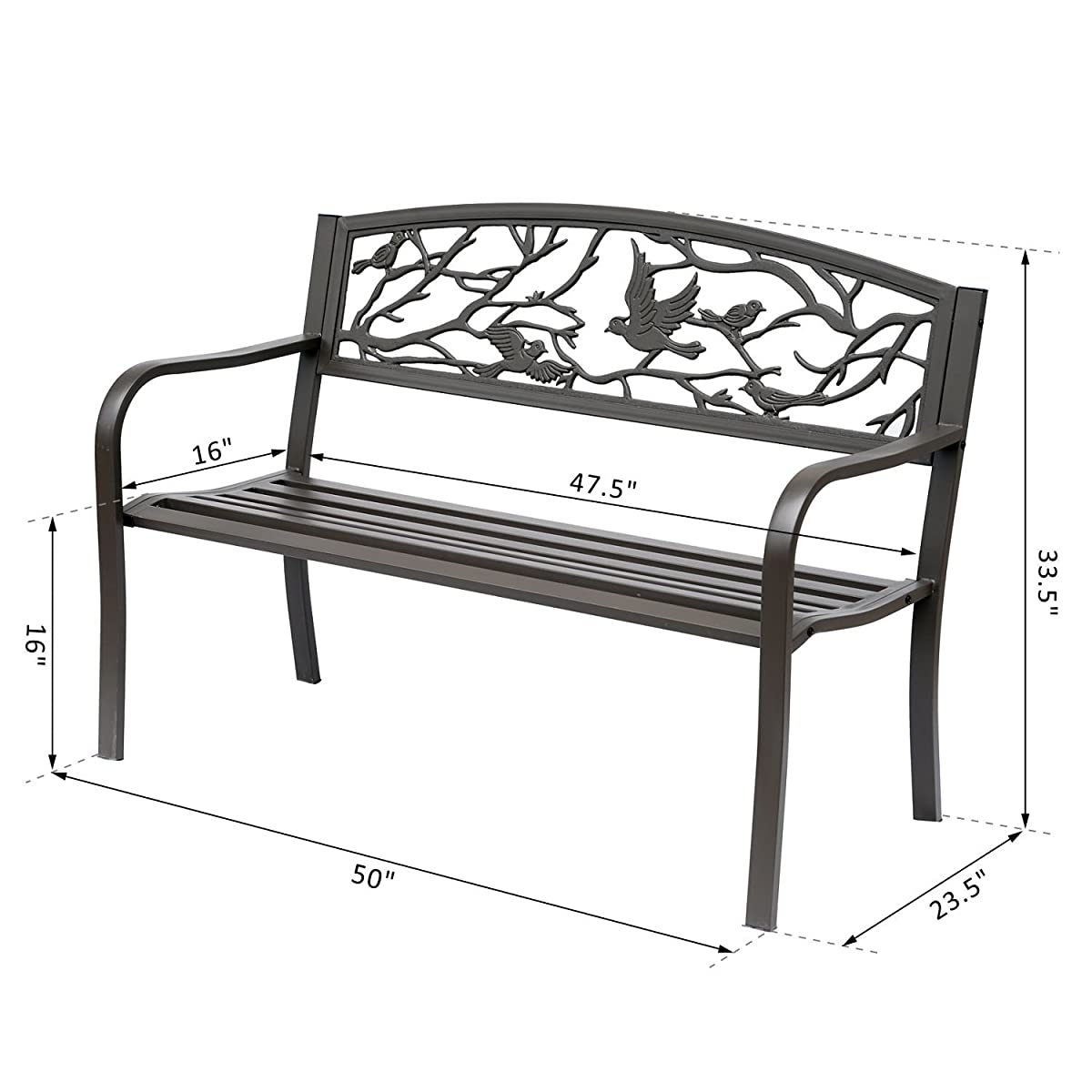 "Outsunny 50"" Cast Iron Vintage Bird Pattern Garden Patio Bench"