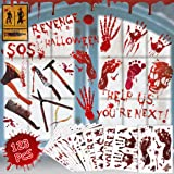 123 PCS Halloween Decorations Stickers Window Wall Floor Clings Bloody Handprints Footprints Decals Halloween Vampire…