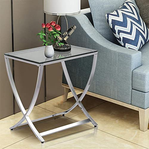 Yaheetech Glass Small End Side Table Living Room Coffee Sofa Table Chrome Finish