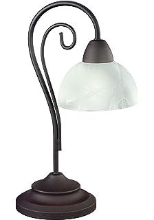 LED Tischlampe Landhausstil Rostfarbe Glas 40cm 4W 2700k Warmweiss