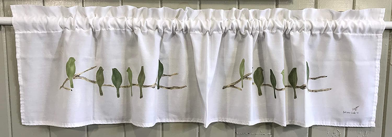 Green Birds Window Valance