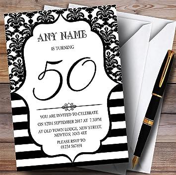 10 X Vintage Damask Black White 50th Customized Birthday Party Invites