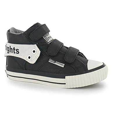 42323d94c British Knights Kids Childrens Roco Hook and Loop Mid Top Trainers Shoes  Black/White UK