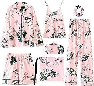 BABIFIS Verano Otoño Invierno 7 Piezas Conjunto Algodón Elegante Mujer Pijamas Pantalones Cortos completos de Manga Larga Top Pantalones de Cintura elástica Seda Robe Lounge: Amazon.es: Hogar