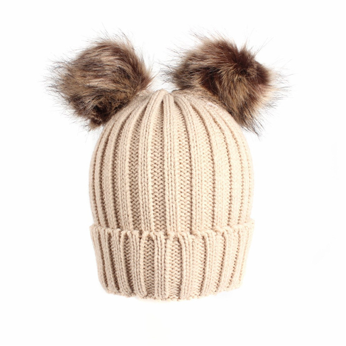 Qhome Kids Winter Warm Beanie Hat With Pom Pom Children Beanies Knitted Hats