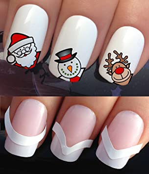Christmas Nail Art Set Stickers Decals Water Transfers Plus X48
