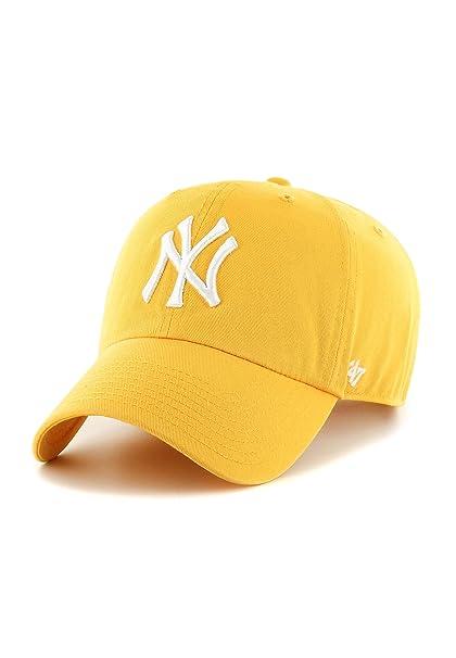Gorra visera curva amarilla con logo frontal grande de MLB New York Yankees  de 47 Brand - Amarillo 71746e5dd4f