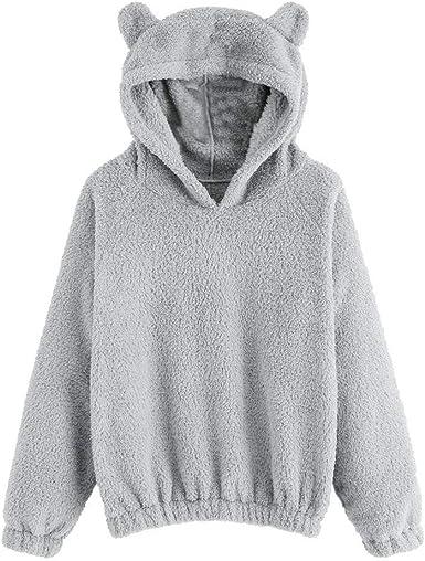 OSYARD Sweatshirt Femme Pulls Fourrure À Capuche Sweat Shirt