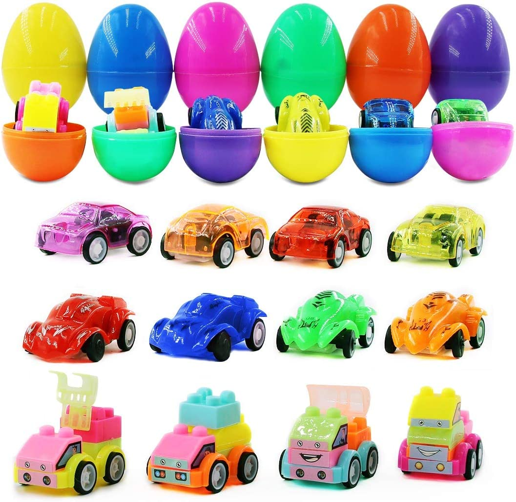 Basket Filler 8 Pull Back Cars /& 4 Assembling Block Cars for Kids Easter Theme Party Favor 12 Pcs Class Prize Supplies Woochic Filled Easter Eggs with Toy Cars Easter Eggs Hunt