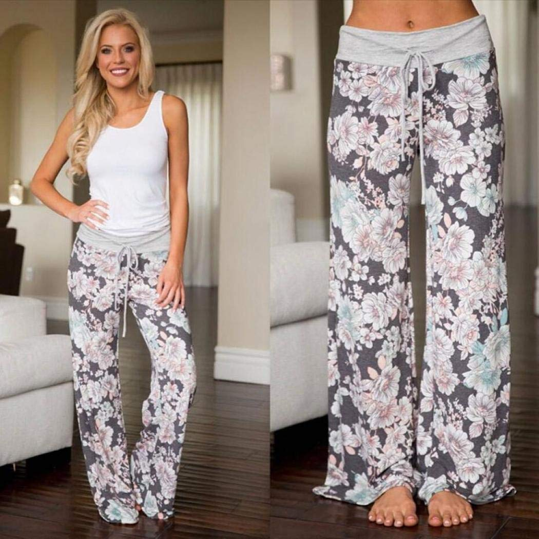 Stile Casual per Yoga KISS ME Pantaloni a Gamba Larga con Coulisse