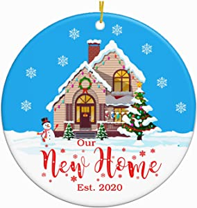 JUPPE Our New Home Ornament Est. 2020 Christmas Collectible Bridal Shower Wedding Gift First Time House Homeowner 1st Holiday New Property Buyer Ceramic Keepsak Xmas Tree Couples Gift (New Home-1)