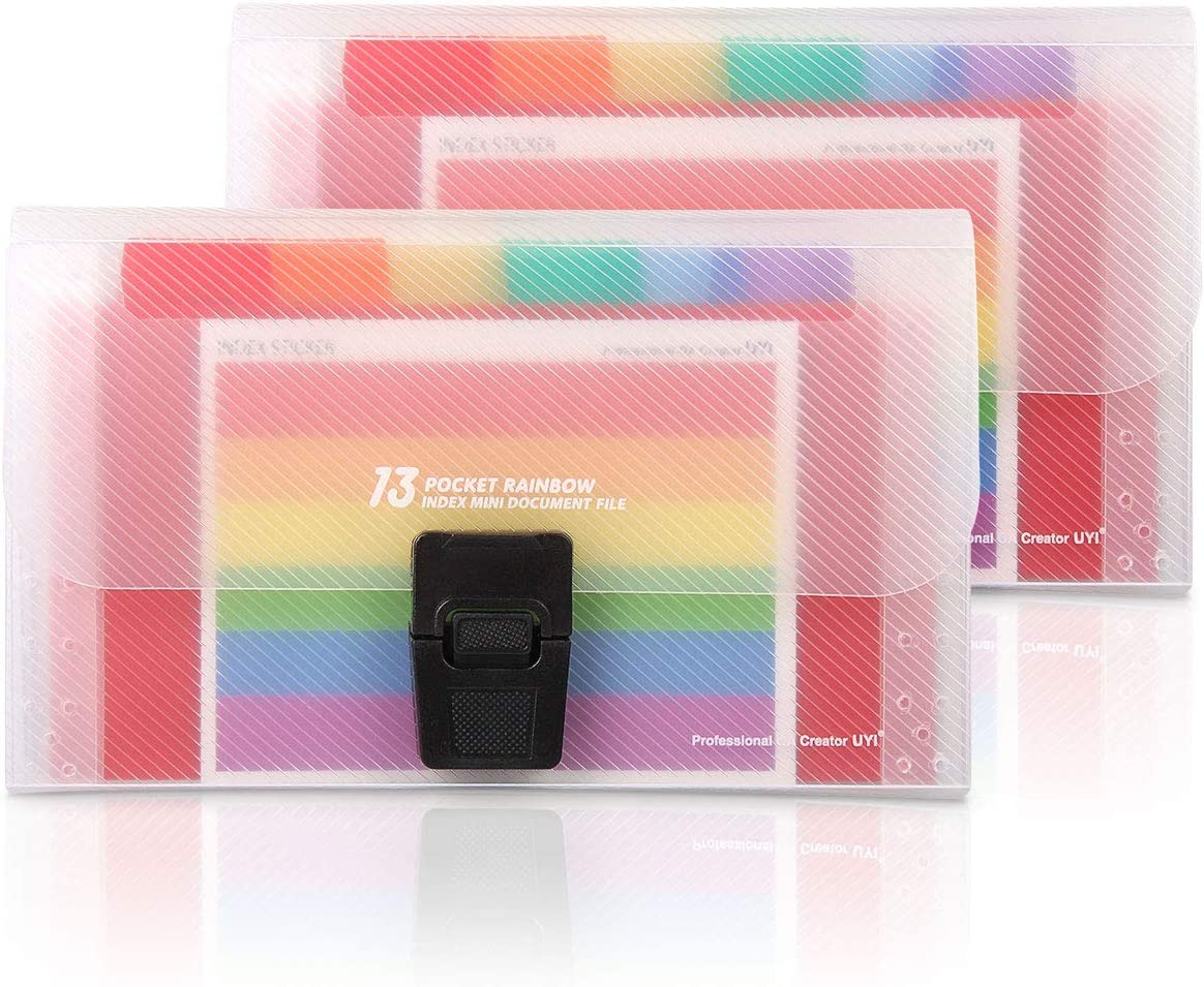 13 Pockets Mini File Folders Expandable Rainbow Multi-Layer Folder A6 Letter Size File Organizer with Buttons Suitable for Storage Invoice/Receipt Information/Cards/Coupon(2 Pack)