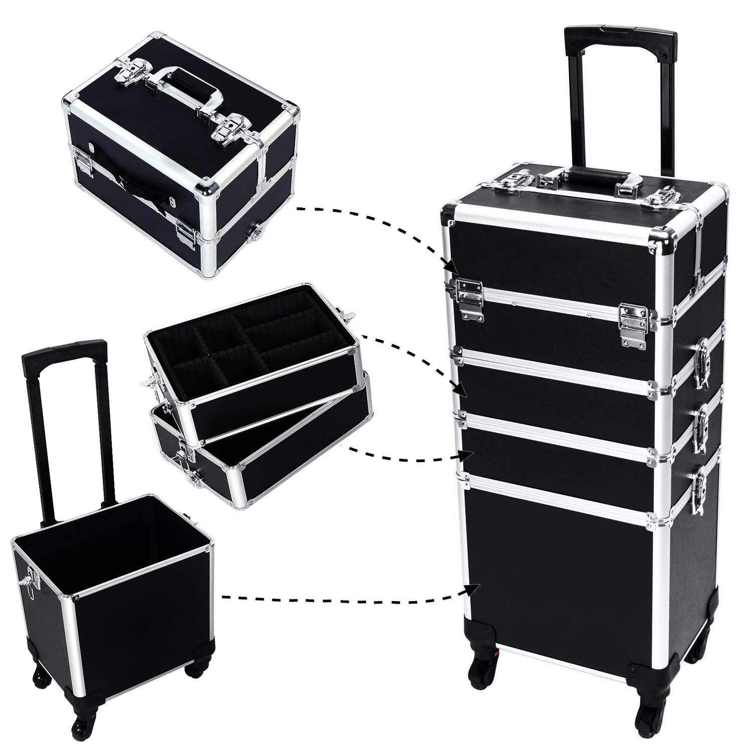 4-in-1 Aluminum Rolling Makeup Train Cases Trolley with 4-wheel and 2 Keys Professional Multi-function Artist Beauty Train Case Cosmetic Organizer Box Lift Handle Lock W/shoulder Straps