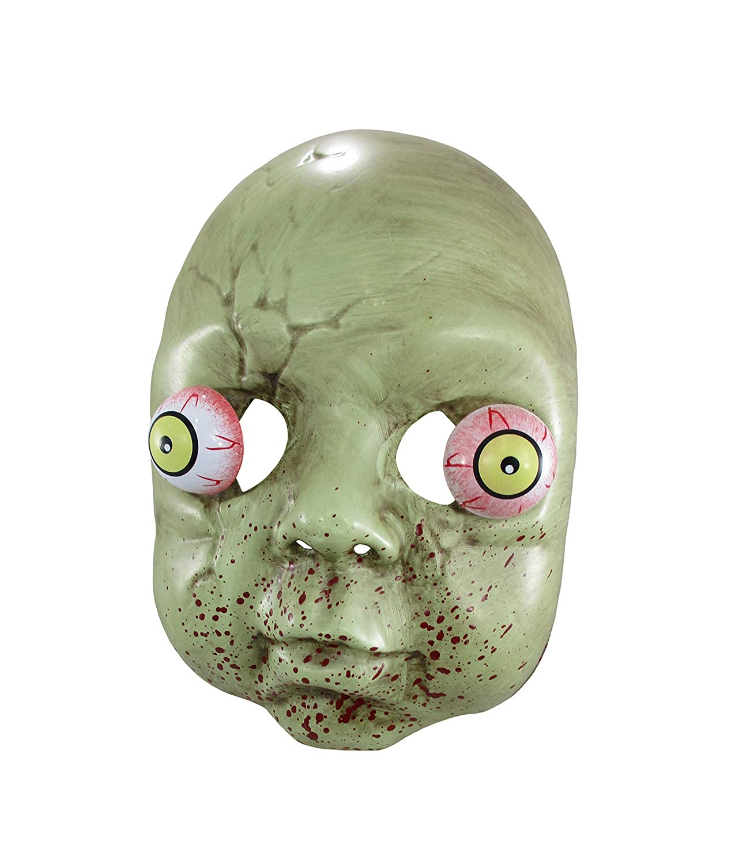 Plastic Zombie Baby Mask Bulging Eyes 9 Inch