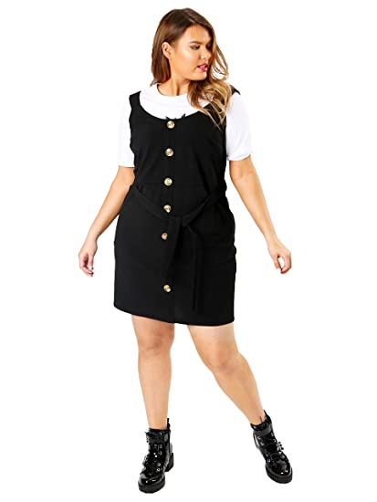 multiple colors 2019 authentic pretty cool Lovedrobe Koko Women's Plus Size Black Pinafore Dress ...