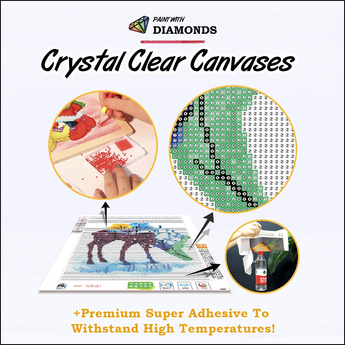 Diamond Painting Kits for Adults by Paint With Diamonds XL 60x40cm 'Eagle's Cry' Full Canvas Square Diamonds (Plus Free Premium Diamond Pen) by Paint With Diamonds (Image #4)