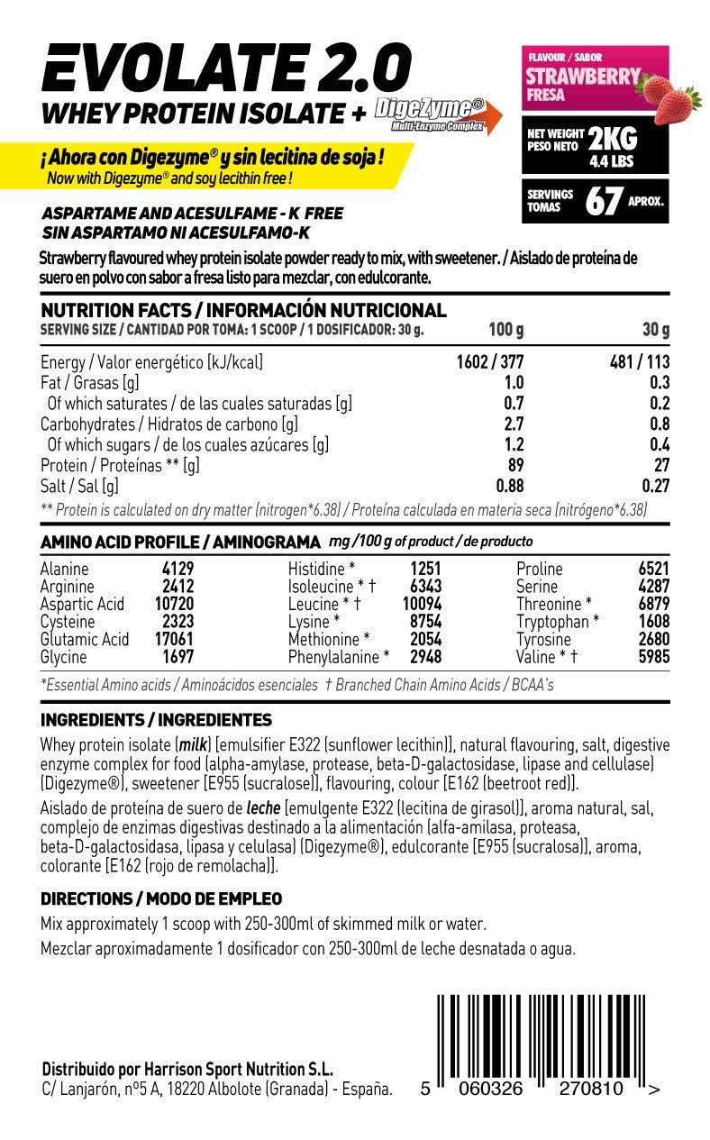 Whey Protein Isolate (WPI) de HSN Sports - Aislado de Proteína de Suero Evolate 2.0 - Sabor Fresa - 2000 gr: Amazon.es: Salud y cuidado personal