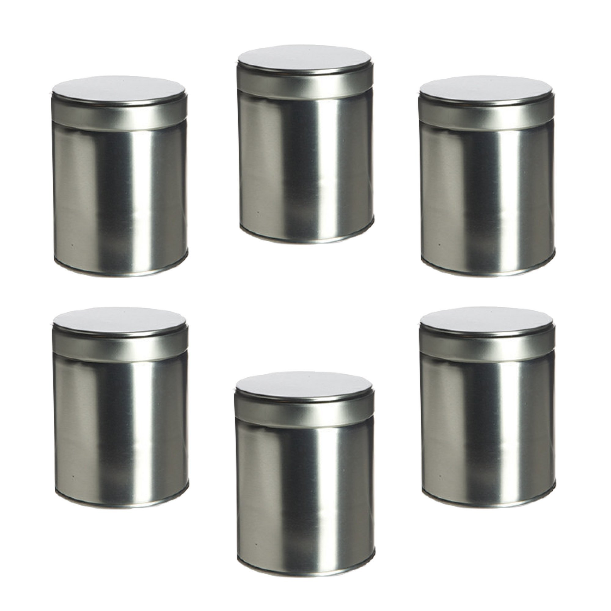 Thistle Moon Steel Loose Leaf Tea and Spice Tin Round with Twist Cover Short - Set of 6