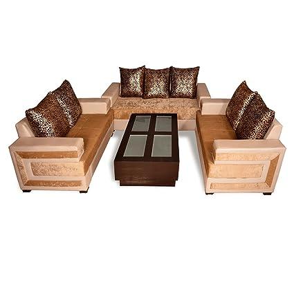 Pharneechar Standard Affordable 7 Seater Sofa Set Brown Sofa Seven