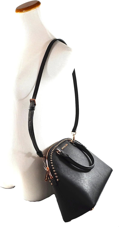 Michael Kors Emmy Large Dome Satchel Saffiano Leather Studded Scalloped Edge Shoulder Bag Purse Handbag (Black)
