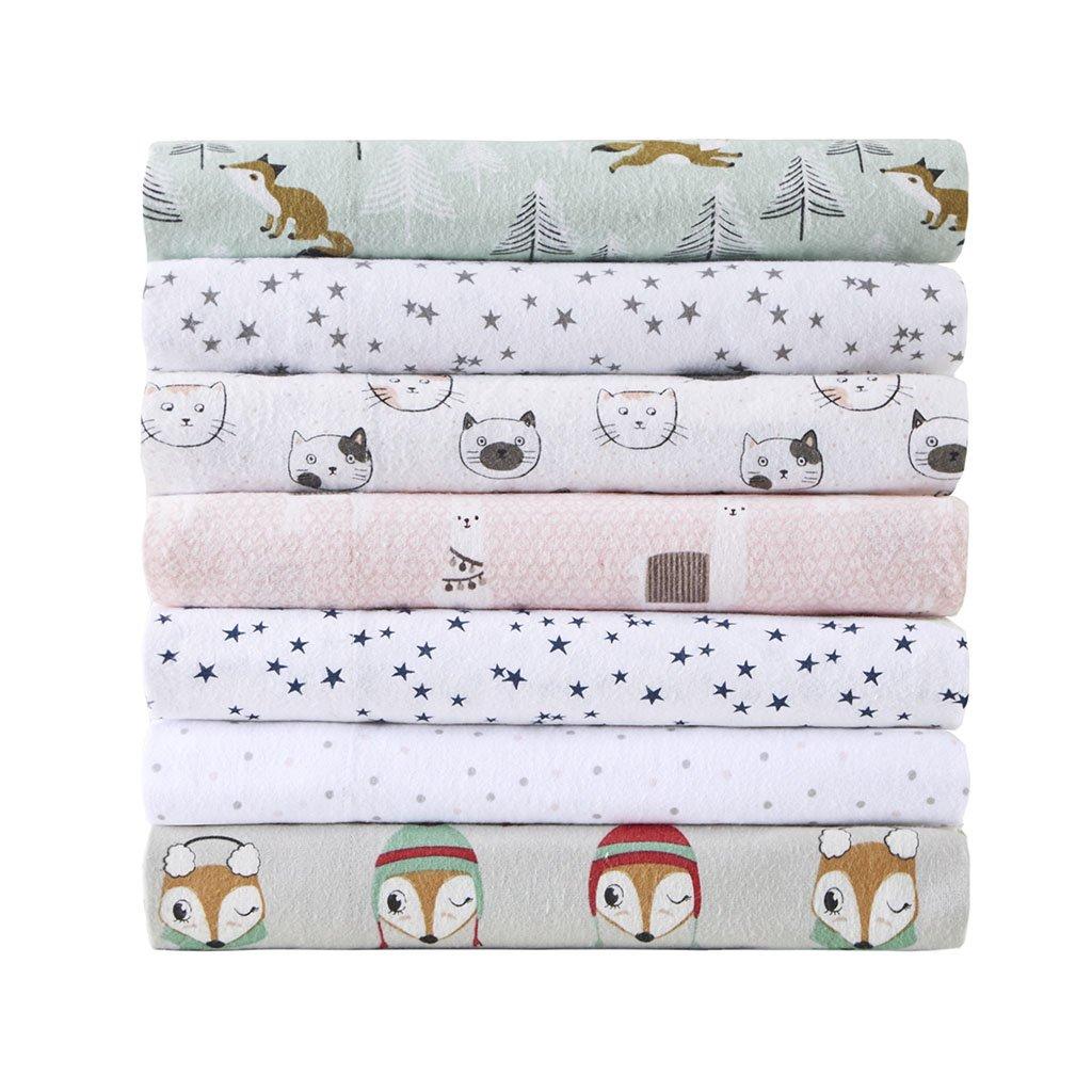 Intelligent Design Cozy Soft Cotton Novelty Print Flannel Sheet Set, Queen, Grey/Pink Cats by Intelligent Design