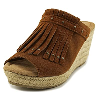 Minnetonka Women's Quinn Wedge Sandal,Brown Suede,US ...