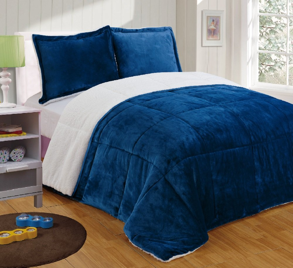 Chezmoi Collection 3-piece Micromink Sherpa Reversible Down Alternative Comforter Set (King, Navy