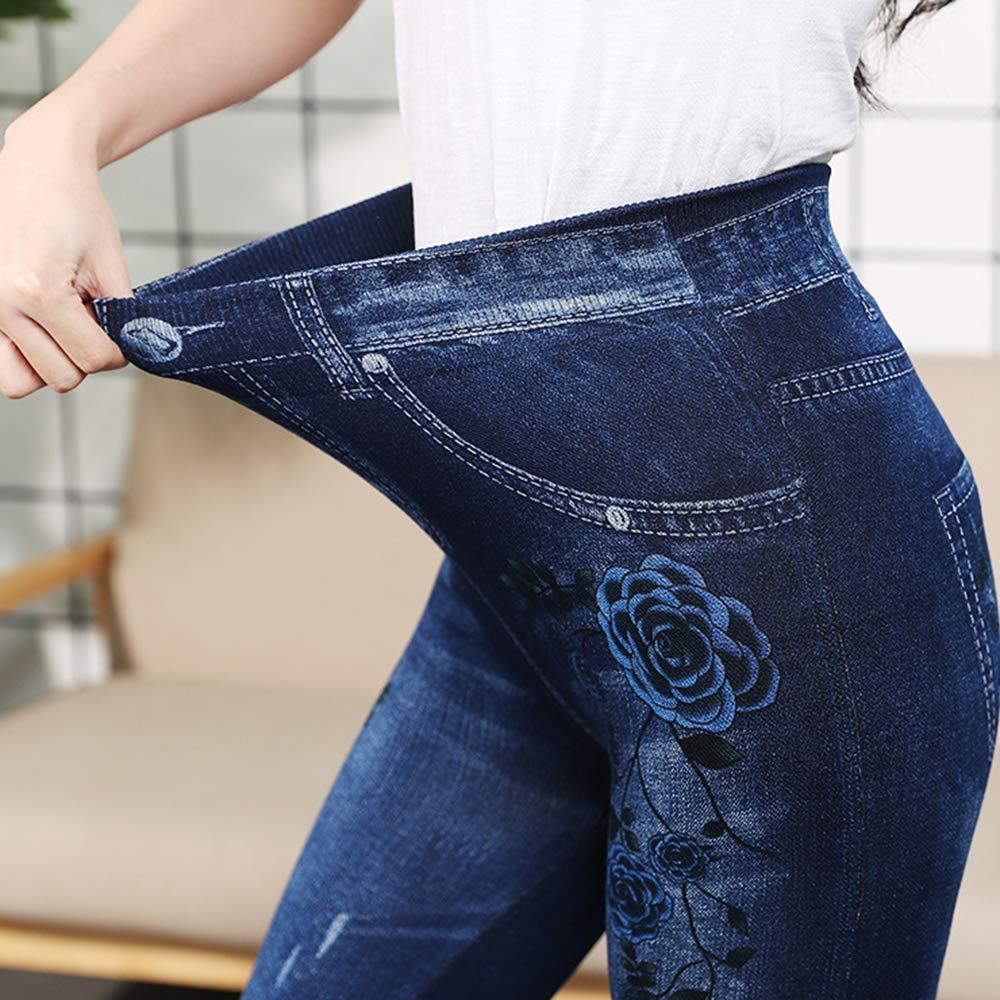 Largos Leggins Vaqueros con Forro Interior opacos Leggings para Mujer Calientes Ajustados Cintura Alta Shujin para Invierno t/érmicos