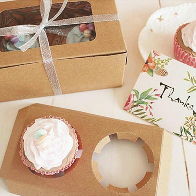 25pcs Cajas Pastelería Regalos Muffins Tartas Cupcake Cartón (16*9*7.5cm) Papel Kraft Marrón con Ventana: Amazon.es: Hogar