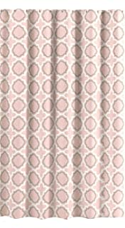 Esteben Coral Peach Canvas Fabric Shower Curtain Quatrefoil Moroccan Design 70 X 72
